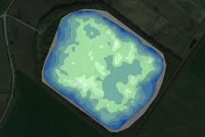 Een kaart van de bodem van CarpFarm Lake