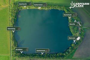 Detail kaart van de stekken op CarpFarm Lake